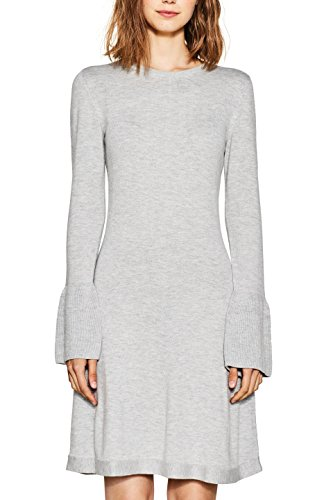 edc by ESPRIT Damen Kleid 997CC1E801, Grau (Light Grey 040), Large