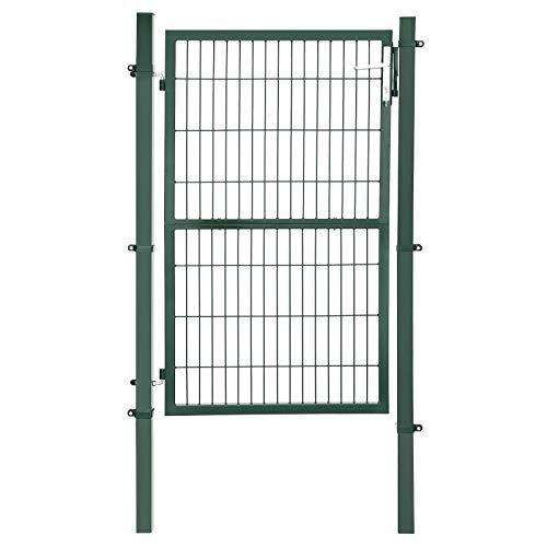 SONGMICS Gartentor aus verzinktem Stahl robust und langlebig mit Schloss und Schlüssel Tormaße: 150 x 106 cm Grün GGD200L