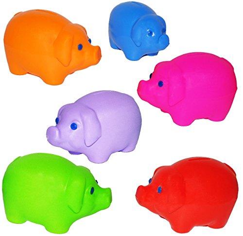 alles-meine.de GmbH 3 Stück _ Verschiedene _ Sparschweine -  buntes Schweine  - aus Kunststoff / Plastik - stabile Sparbüchsen & Spardosen - Kinderspardose - für Kinder & Erwac..
