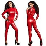 MZQ Sexy Women's Lingerie Latex Catsuit Bodysuit,Red,XXXL