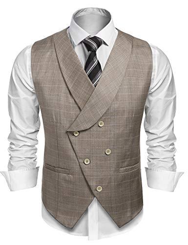 Burlady Herren Western Weste Herren Anzug Weste V-Ausschnitt Ärmellose Westen Slim Fit Anzug Business Hochzeit (L, Y-Khaki)