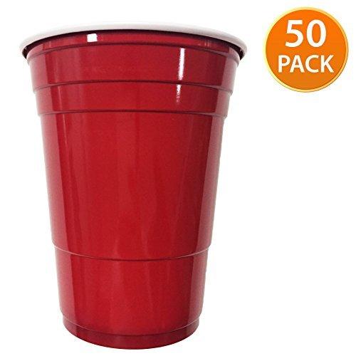 50 Stück Rot American Einweg Kunststoff Party-Becher ideal für Bier Pong Klauenhammer, 18oz-525 ml