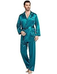 d6a6c8597d LilySilk Seide Pyjama Nachtwäsche Schlafanzug Morgenmantel Herren von 22  Momme Türkis XL