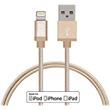 TUDIA [Apple MFi Certificado] Nylon Trenzado Cable de datos de USB, Cable de carga, Cargador 0.9m Cable, y Sincronización para iPhone 6 Plus/6/5S/5/5C, iPod Touch, iPad (Oro)