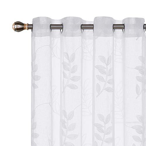 Deconovo Stores Gardinen mit Stickerei Blätter Ösenvorhang Leinenoptik 175x140 cm Weiß Blätter 2er Set