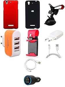 NIROSHA Cover Case Charger USB Cable Mobile Holder car Combo for YU Yureka Combo