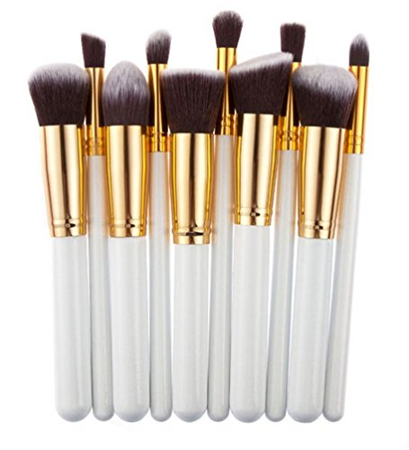 Ghope 10pcs Kabuki Kits Brosse Maquillage Cosmetic Brushes poignée Fondation premium Powder Eyeshadow Eyeliner Brush Professional Cosmetics Outillage Bois