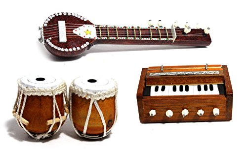 IndiaMeetsIndia Hand Made Magnetic Miniature Musical Instruments Set (Decorative Showpieces) Gift Set of 3 ( Tabla Set, Harmonium and Sitar)  available at amazon for Rs.1099