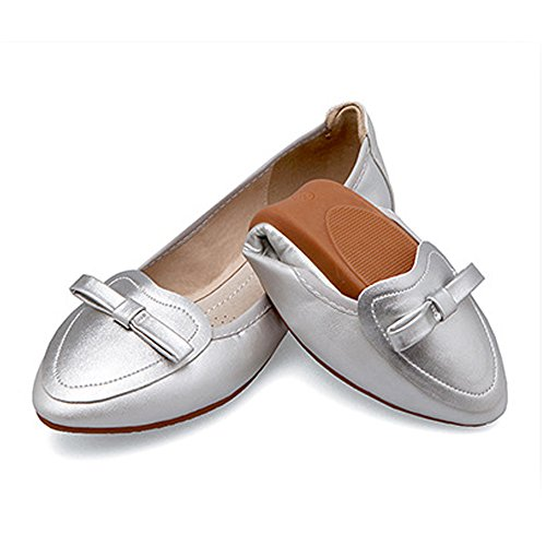 Faltbare Ballerinas (Damen Ballerinas Schuhe Faltbar Weich Spitz Schleife Ballett Komfort Flach Silber Asiatisch 45/EU 43)