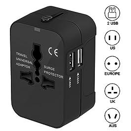 Adattatore da Viaggio, Amoner Adattatore da Viaggio Universale con 2 Porte Caricabatterie USB Adatto per più di 180…