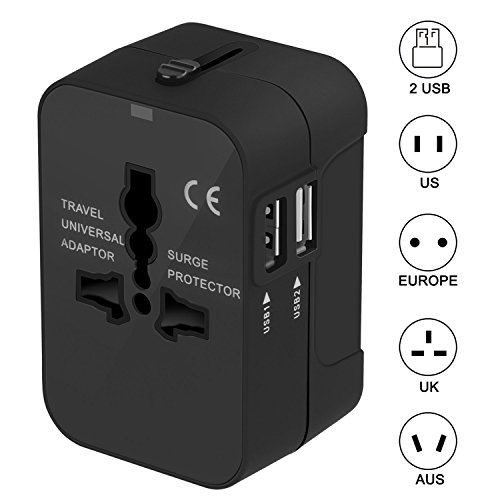 Best-Selling electronics in Italy travel adapter, surwell universal travel adapter with 2 ports usb charger suitable for more than 180 countries (black)