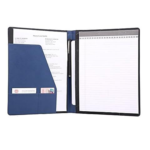 Leathario A4 Schreibmappe Portfolio Dokumenten-Mappe Konferenzmappe, inkl. Schreibblock, Blau