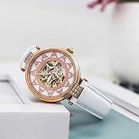 BUREI Mujeres Esqueleto automático Reloj con Resistente a los arañazos Cristal de Zafiro Correa de Piel Self Winding Relojes para Mujer de BUREI