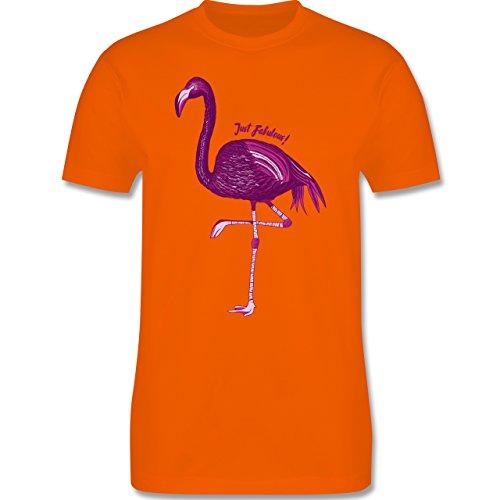 Shirtracer Vögel - Flamingo - Just Fabulous - Herren T-Shirt Rundhals Orange