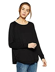 GAP Womens Plain Loose Fit T-Shirt (15384220003_TRUE BLACK KNIT_S)