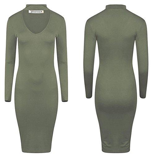 Janisramone - Robe - Robe midi - Uni - Manches Longues - Femme noir * taille unique Kaki