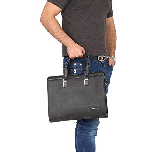 Leathario Damen Herren Ledertasche Leder Umhängetasche Aktentasche Laptoptasche Arbeitstasche Businesstasche Messenger Bag, Schwarz Schwarz