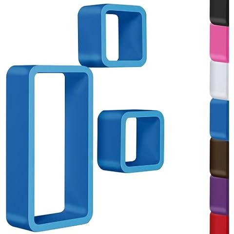 Miadomodo Mensola da parete muro set da 3 pezzi 1 cubo grande e 2 piccoli colore blu