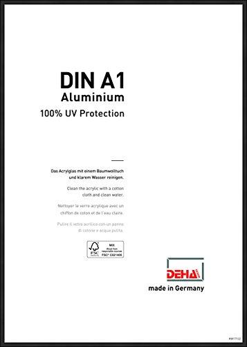 DEHA Aluminium Bilderrahmen Boston, 59,4x84,1 cm (A1), Eloxal Schwarz Matt - Uv-glas-bilderrahmen