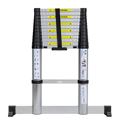 NEW STANDARD Charles Bentley 3.8M DIY Telescopic Aluminium Extendable Multifunctional Loft Ladder 13 Steps EN131-6 Certified