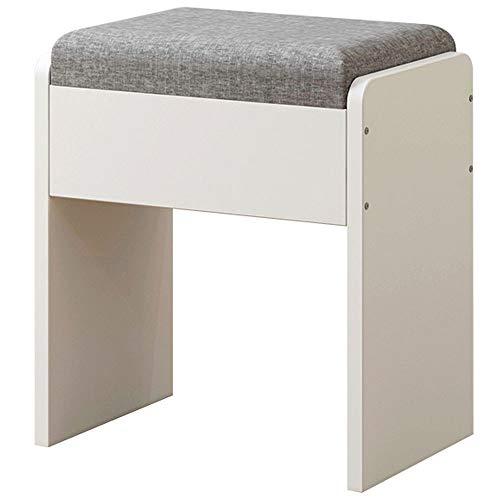 WH Startseite Hocker aus Massivholz Stoff Stuhl Schlafzimmer Schminktisch Hocker europäischen modernen minimalistischen