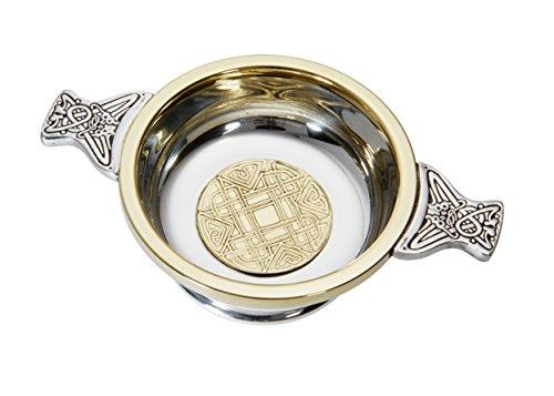 Wentworth Pewter-Medium Keltisches Gold Zinn und Messing Quaich Whisky Tasting Schüssel Loving Cup Burns Night Gold Loving Cup