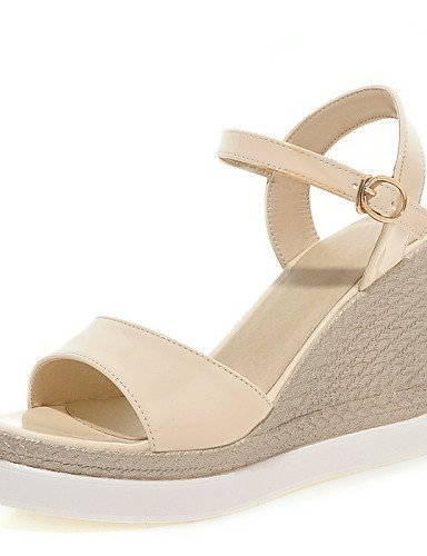 UWSZZ IL Sandali eleganti comfort Scarpe Donna-Sandali-Formale / Casual / Serata e festa-Spuntate / Plateau / Aperta-Zeppa-Vernice-Nero / Rosa / Bianco / Beige Pink