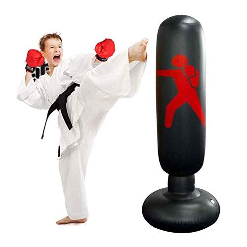 JanTeel Boxsack 160cm, Standboxsack Aufblasbare Boxsäule Tumbler Kinder/Erwachsene Fitness Dekompression Sandsäcke Kick Kampftraining, Freistehender Boxsack Trainer Punching Ball Sandsack (Schwarz-C)
