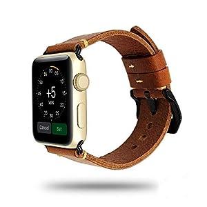 Apple Watch Strap Hand Stitch Vintage echtes Leder Band 38 40 42 44mm iwatch Band Gurt Herren Boyfriend Mann Geschenk…