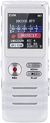 GHB Grabador de Voz Digital 8GB HD Doble Microfonos Altavoz Incorporado Grabador Mini Portátil MP3 USB Hasta 700 horas -Blanco