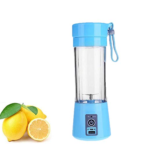 BUYERZONE Portable Plastic Fruit Juicer Blender 380 ml Bottle for Shakes and Smoothies (Assorted Colour)