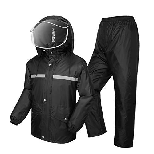 Regenmantel, Regenanzüge (Regenjacke und Regenhosen-Set), Regenbekleidung für Männer wasserdicht mit Kapuze Motorrad Fahren Golf Angeln im Freien -