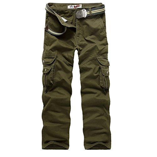 AYG Herren Cargo Hose Camouflage Trousers(army green,36)