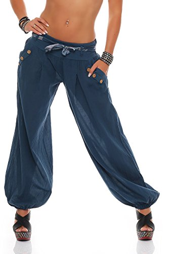 ZARMEXX Damen Pumphose Haremshose Sommerhose Aladinhose Strandhose Baggy Baumwollhose Jeansblau