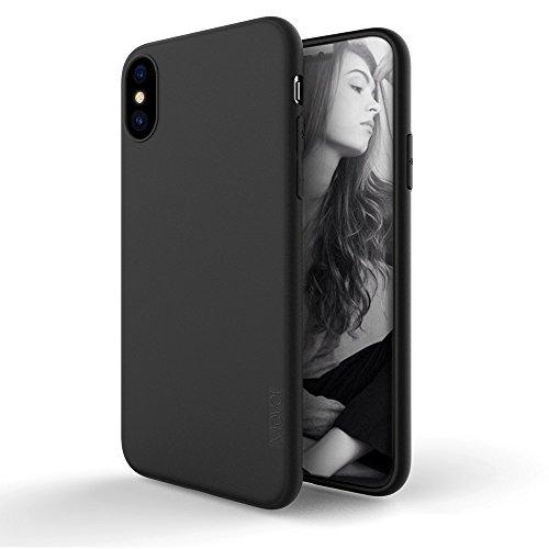 iPhone X Hülle,X-level [Guadian Serie] Ultradünn Schlank TPU Case Weiche Silikon Schutzhülle, Handyhülle für iPhone X Echtes cover 5,8 Zoll 360 ° Voller Deckel, Einfacher Stil (Weinrot) Schwarz