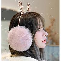ZXQZ Orejeras Calentador del Oído, Cálido Invierno de Las Señoras con El Metal Brillante Cuerno Oreja Cubierta para El Aire Libre Compras Ejecución de Rosa Banda de Oreja
