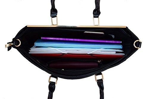 CRAZYCHIC - Borsa a mano donna con frontale piastra e zip oro - Grande formato e lunga maniglia - Imitazione Saffiano pelle - Large Tote shopper bag - per studente lavoro i corsi Nero