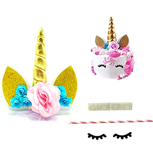 MoGist Candeleros Conjunto de pestañas de Velas de Unicornio Diadema de Unicornio Diadema Tema de cumpleaños decoración de Mesa de Pastel un Conjunto de tamaño de Color Alto Material de 16 cm Tela
