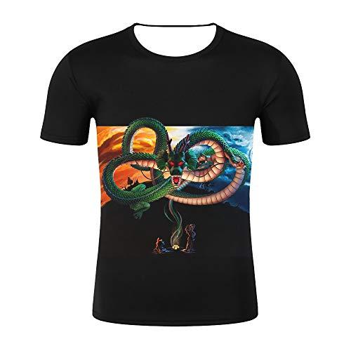 T-Shirts,Dragon Ball Kurzarm-3D-Digital-Printt-Shirt Weich Und Bequem Cool Shirt 4XL Unisex Geeignet Für Sommer Schwarz XXXXL Photo Color