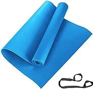 سجادة يوغا مقاس 8 مم مع حزام حمل، صُنعت في الهند باللون الأزرق من ARNV