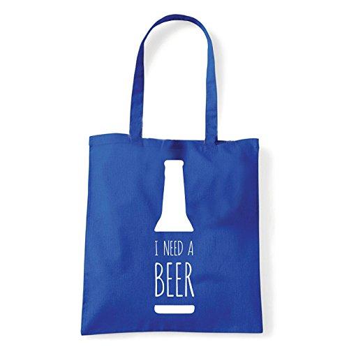 Art T-shirt, Borsa Shoulder Need Beer, Shopper, Mare Blu
