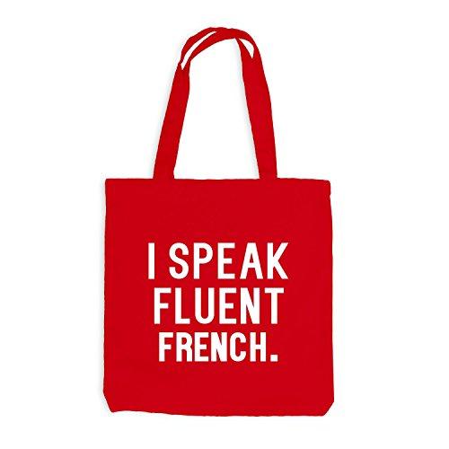 Jutebeutel - I speak fluent French - Sprache Französisch Rot