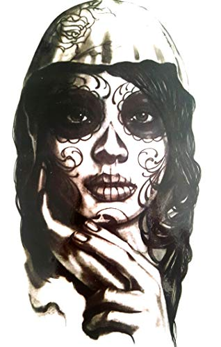EROSPA® Tattoo-Bogen temporär - Day of Dead - Frauenkopf - La Catrinas - 21 x 15 cm (Männer Toten Der Make-up Tag Für)