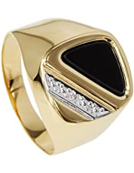 Bella Donna Damen- Ring 333 Gelbgold teilrhodiniert 1 Diamant ca. 0,005 ct. Weiß Piquè 1 Onyx Dreieck 12x6,5 mm
