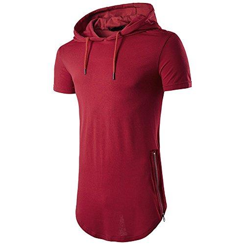 Camisetas Tirantes con Capucha Color SóLido Elíptico Dobladillo Ropa de Moda Slim Fit Verano Cómodo...