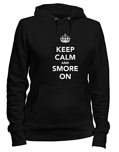 Kapuzen-Sweatshirt Frauen Schwarz TKC0598 Keep Calm and SMORE ON - Frauen Smores