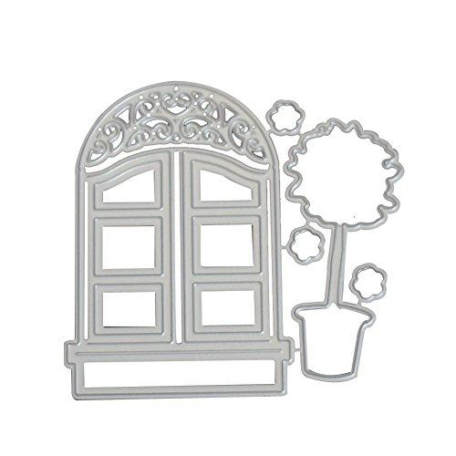 Zmigrapddn DIY Formen, 2/Set Metall Schneiden Sterben Fenster Topfpflanzen Schablone für Embossing Foto Album a -