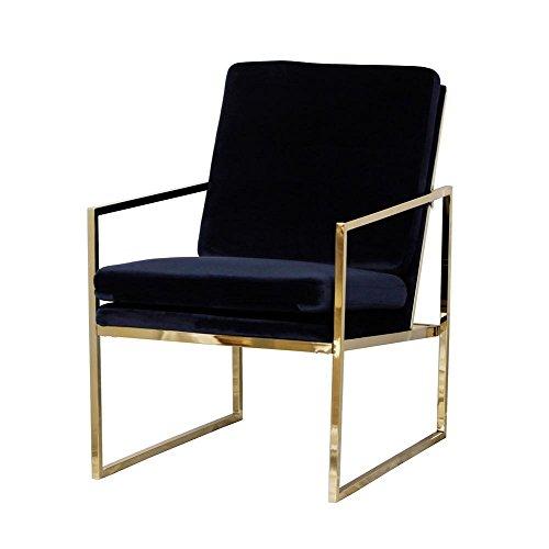 Blau samt Sessel bequemer Relax Lounge Stuhl Messing vergoldet Finishing Kupfer-Look mit Metall Beine Schwamm Kissen Sessel by evahom (Rosa Griffe Vanity)