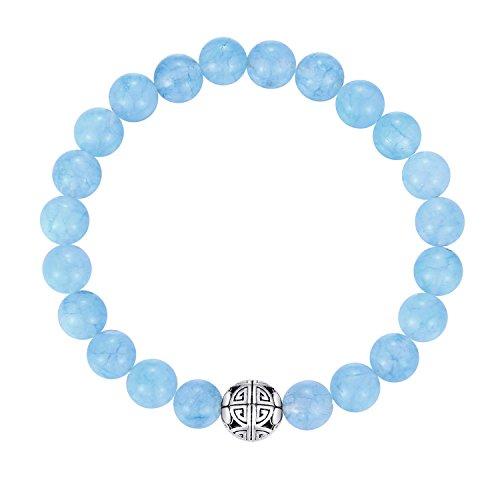 Natürliche 8 mm Edelsteine MetJakt Heilung Crystal Stretch Perlen Armband Armreif mit 925 Sterling Silber Double Happiness Anhänger (Aquamarin)