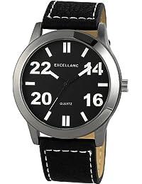 Excellanc  - Reloj de cuarzo para hombre, correa de diversos materiales color negro